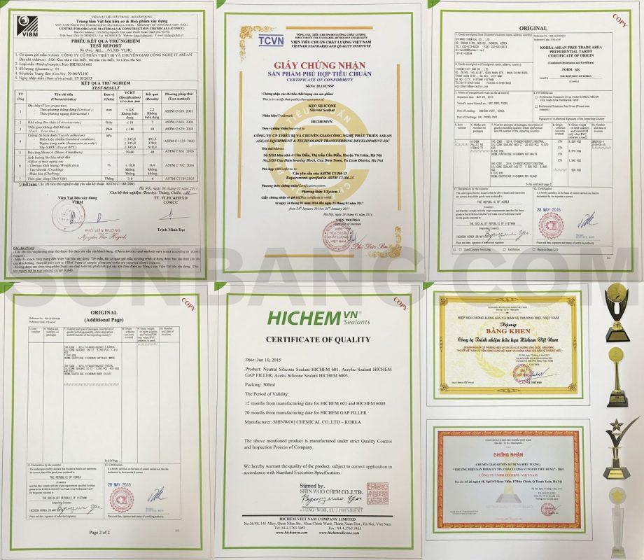 chứng nhận chất lượng keo hichem
