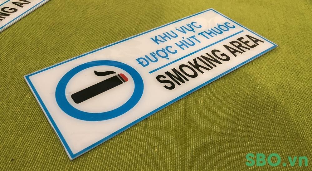 Bảng báo khu vực được hút thuốc bằng mica