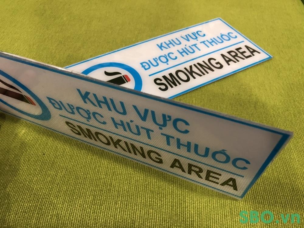 bảng báo an toàn smoking area mica in uv