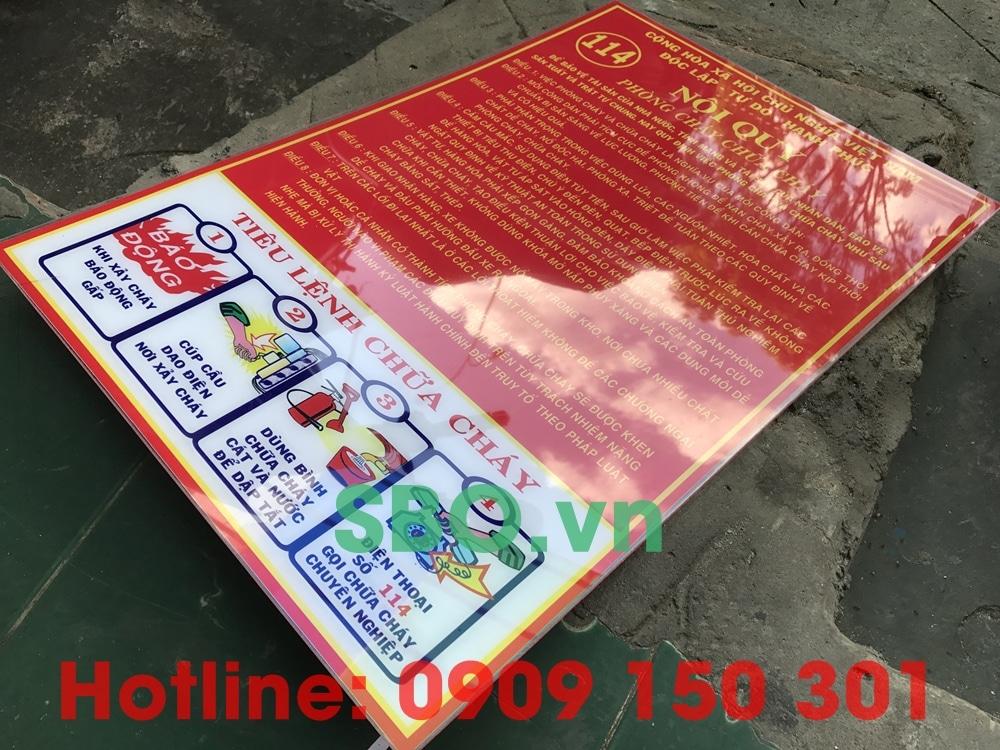 bảng nội quy tiêu lệnh chữa cháy