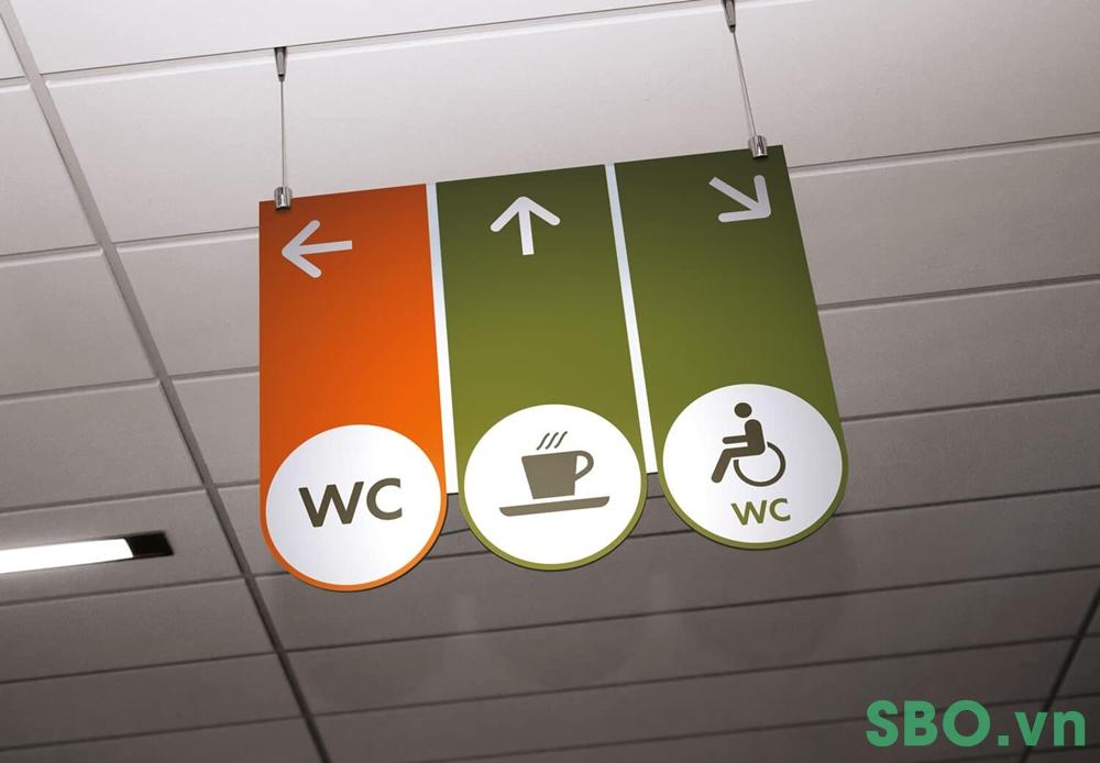 biển chỉ dẫn nhà vệ sinh trong nhà hàng quán ăn, quán cà phê