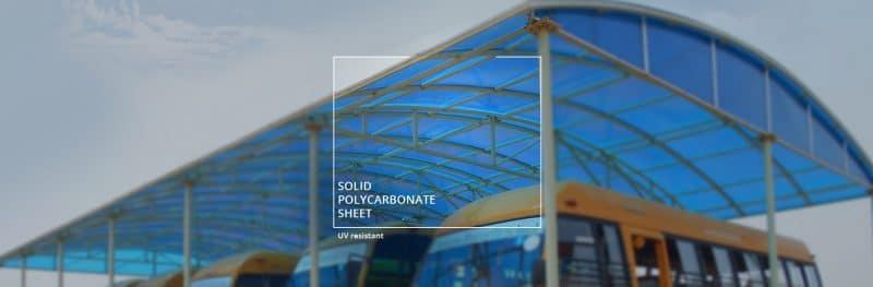 công trình lợp mái nhà để xe bằng tấm nhựa polycarbonate