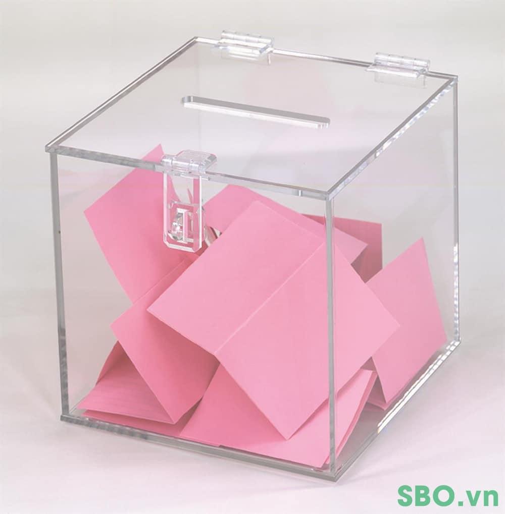 hộp đựng bỏ phiếu, thùng tiền bằng mica
