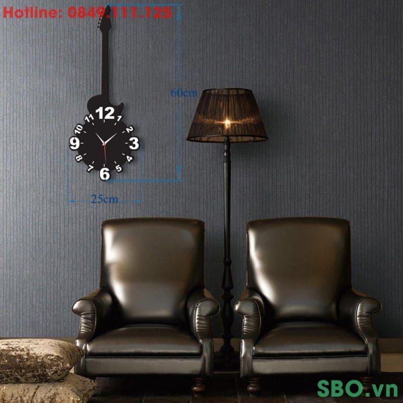 Đồng hồ treo tường mica hình cây đàn SB004