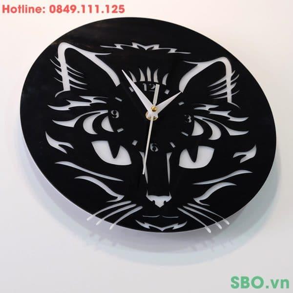 Đồng hồ treo tường mica đầu mèo SB008