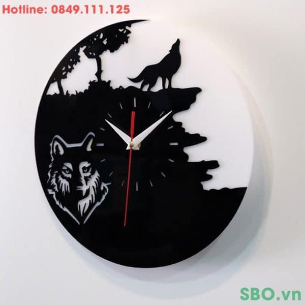 Đồng hồ treo tường mica chó sói SB009