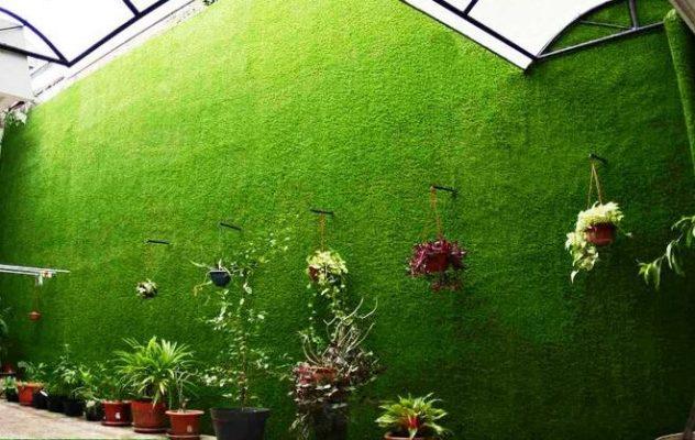 trang trí thảm cỏ nhân tạo trên tường