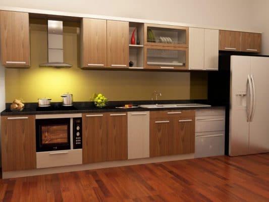 tủ bếp âm tường bằng pvc gỗ nhựa