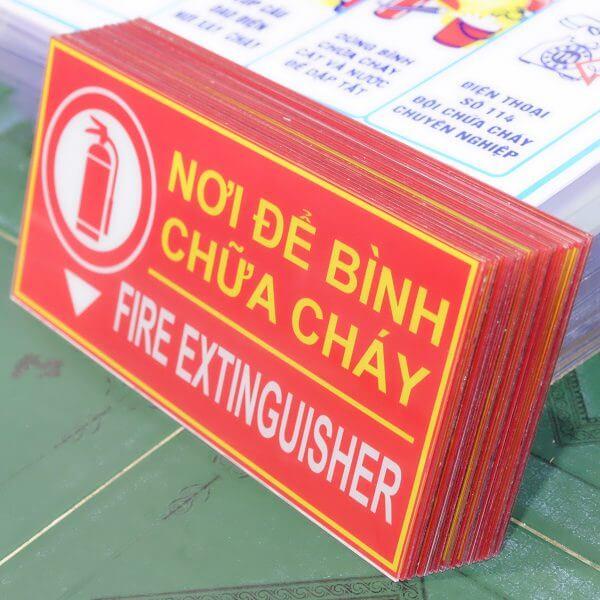 bảng vị trí nơi để bình chữa cháy Mica
