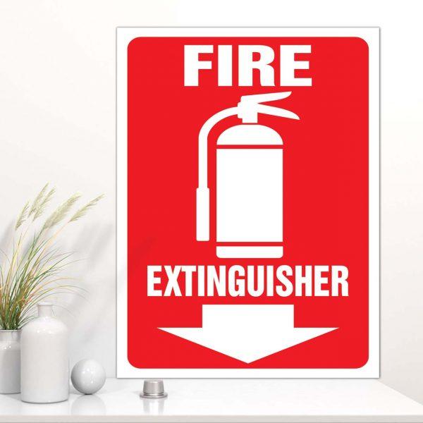 Bảng Mica chỉ dẫn khu vực đặt bình chữa cháy tiếng Anh