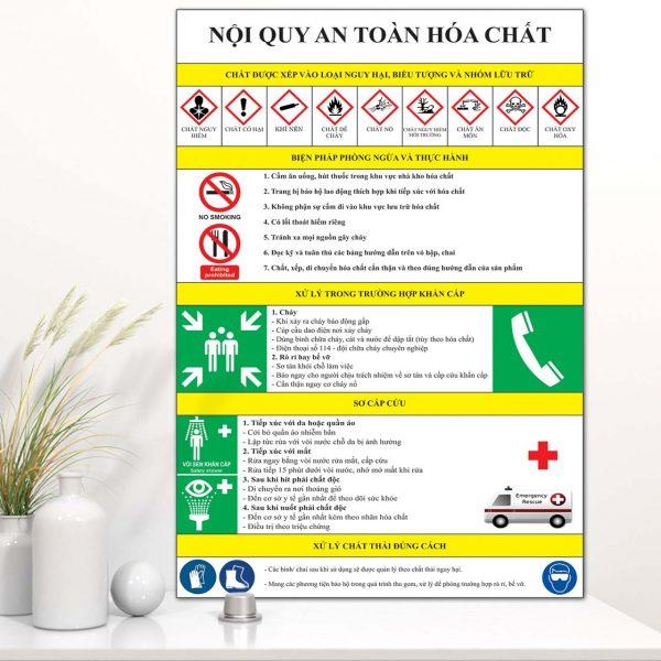 Bảng Mica nội quy an toàn hóa chất