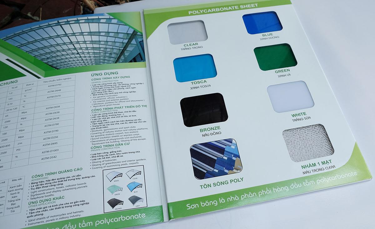 bảng mã màu sắc catalog tấm nhựa lấy sáng polycarbonate